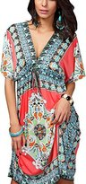 Honeystore Women's Hawaiian Boho V Neck Summer Beach Sun Dress Cover up M