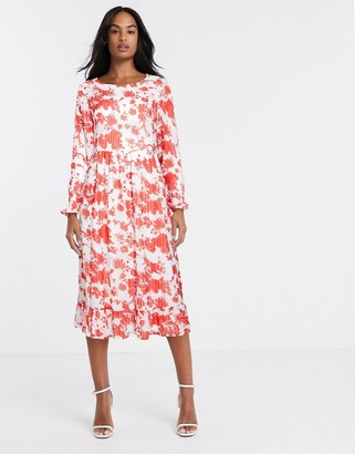 Vila long sleeve midi dress in floral
