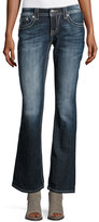 Miss Me Faded Boot-Cut Embellished-Pocket Jeans, Dark Blue