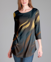 Lily Blue & Yellow Abstract Tunic - Plus Too
