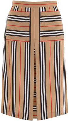 Burberry A-Line Icon Stripe Print Skirt