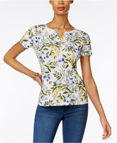 Karen Scott Printed Henley T-Shirt, Only at Macy's