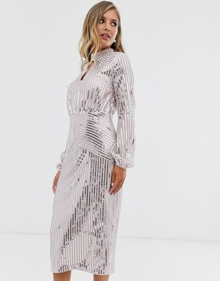 Lipsy long sleeve sequin midi dress in silver