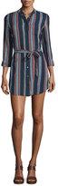 AG Adriano Goldschmied Jett Long-Sleeve Belted Shirtdress, Versi Linen Blue