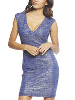 Arden B Linear Metallic V-Neck Dress