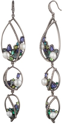 Carolee Triple Drop Freshwater Pearl Rhinestone Statement Earrings