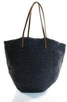 J.Crew J Crew Gray Woven Leather Trimmed Medium Tote Handbag