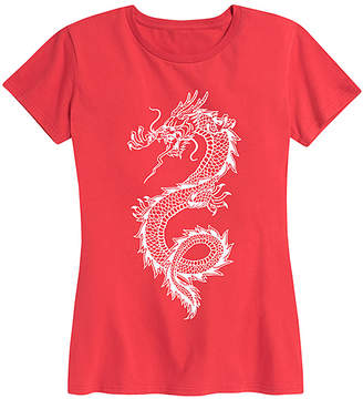 Dragon Optical Instant Message Women's Women's Tee Shirts RED - Red Chinese Relaxed-Fit Tee - Women