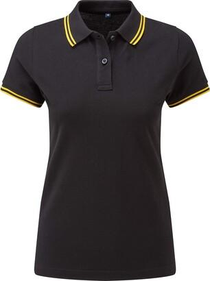 Asquith Fox Asquith & Fox Womens Classic Fit Tipped Polo Shirt - 9 C - Burgundy/Sky - XL
