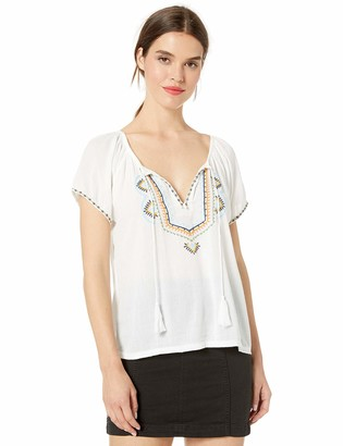 Lucky Brand Women's Embroidered Short Sleeve Peasant TOP