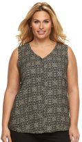 Croft & Barrow Plus Size Shirred V-Neck Top