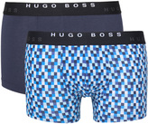 Boss Two Pack Blue Cotton Stretch Boxer Trunks