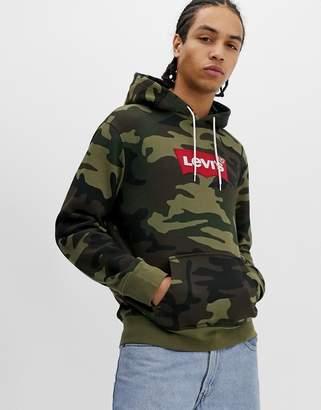 Levi's modern batwing logo camo print hoodie in green