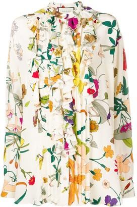 Gucci ruffle trim floral shirt
