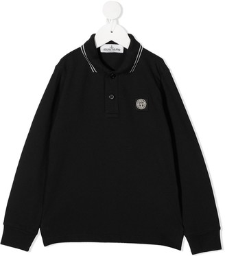 Stone Island Junior Logo-Patch Long Sleeved Polo Shirt