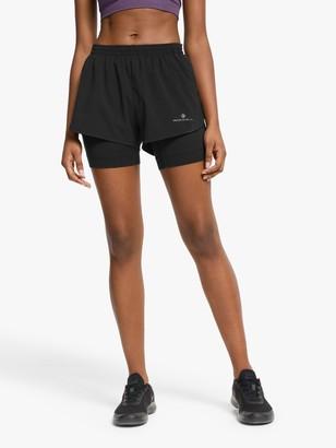 Ronhill Infinity Marathon Twin Running Shorts, All Black