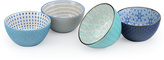 Signature Housewares Navy & Turquoise Geometric 28-Oz. Bowls - Set of Four