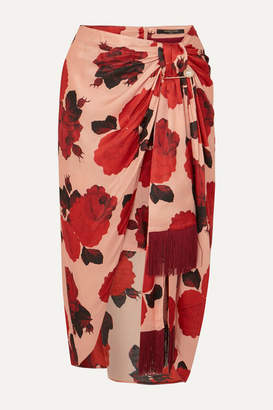 Mother of Pearl Emma Embellished Ruched Floral-print Satin Midi Skirt - Pink