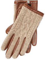 Ralph Lauren Cable-Knit-Wool–Leather Gloves