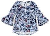 Takara Big Girls 7-16 Floral-Print Bell-Sleeve Top