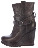 Brunello Cucinelli Leather Wedge Ankle Boots
