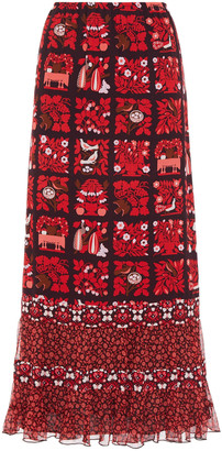 Anna Sui Ruffle-trimmed Printed Georgette Maxi Skirt