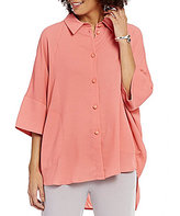 IC Collection Collared 3/4 Sleeve Button Front Solid Blouse