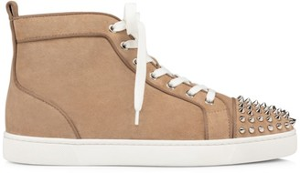 Christian Louboutin Lou Spikes Suede High-Top Sneakers