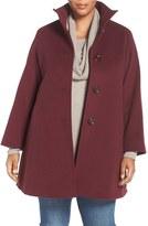 Plus Size Women's Cinzia Rocca Due A-Line Wool Blend Stand Collar Coat