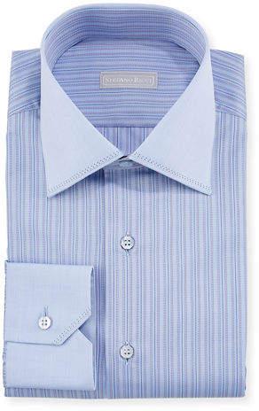 Stefano Ricci Men's Tonal-Stripe Pickstitch Dress Shirt w/ Contrast Cuff and Collar
