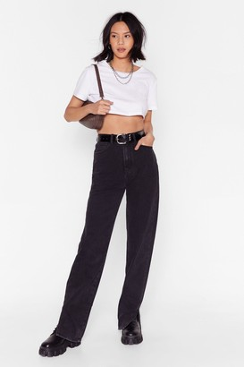Nasty Gal Womens Slit's Now or Never High-Waisted Jeans - Washed Black