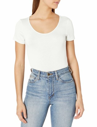 Tresics Women's Trendy Basic Junior Short Sleeve Scoop Neck Thong Bottom Bodysuit