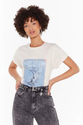 Nasty Gal Womens Moon Lovers Society Graphic Tee - beige - XS