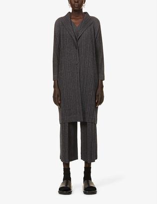 Pleats Please Issey Miyake Ramie pleated woven cardigan