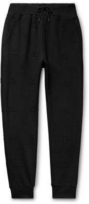 Fendi Tapered Logo-Jacquard Stretch-Jersey Drawstring Track Pants