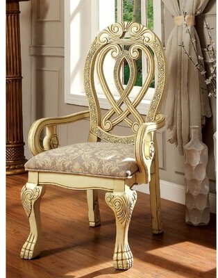 Astoria Grand Sydnie Queen Anne Back Arm Chair Upholstery Color: Gray, Frame Color: Light Yellow
