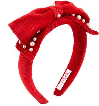 Bari Lynn Girl's Embellished Corduroy Bow Headband w/ Swarovski Crystals