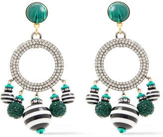Elizabeth Cole Hematite And 24-karat Gold-plated Multi-stone Earrings