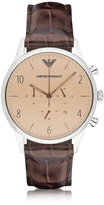 Emporio Armani Stainless Steel Round Case Men's Watch w/Croco Embossed Leather Strap