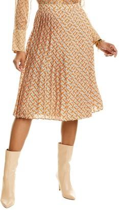 Burberry Monogram Print Pleated Silk Skirt