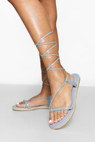 Thumbnail for your product : boohoo Strappy Espadrille Wrap Up Sandal