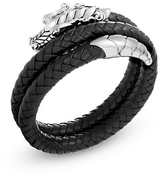 John Hardy Legends Naga Silver & Blue Sapphire Double Coil Bracelet