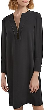 Gerard Darel Tenessy Crepe Zip Neck Dress