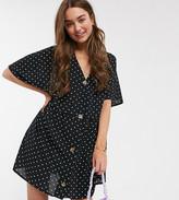 Asos DESIGN Petite v neck button through mini smock dress in spot