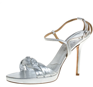 Valentino Silver Leather Braided Ankle Strap Sandals Size 38