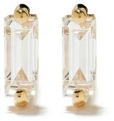 Suzanne Kalan 18kt yellow gold diamond baguette post earrings