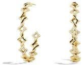 David Yurman Venetian Quatrefoil Hoop Earrings With Diamonds In 18K
