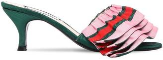 Leandra Medine 55mm Ruffled Grosgrain Mules