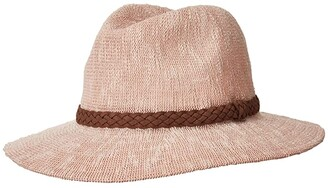 San Diego Hat Company KNH8008 Machine Knit Fedora w/ Braided Suede Trim (Blush) Traditional Hats