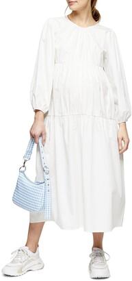 Topshop Long Sleeve Tiered Poplin Maternity Dress